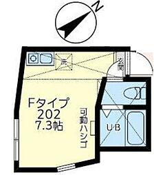 ホワイトフェザーズ桜木町 2階ワンルームの間取り