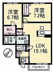 広島県福山市新涯町4丁目の賃貸アパートの間取り