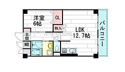テラジハイツ2号館[3階]の間取り