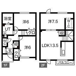 [テラスハウス] 北海道札幌市北区篠路二条8丁目 の賃貸【/】の間取り
