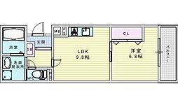 阪急京都本線 相川駅 徒歩2分の賃貸アパート 1階1LDKの間取り