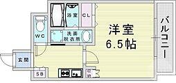 京阪本線 天満橋駅 徒歩7分の賃貸マンション 9階1Kの間取り