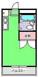 JR高崎線 北本駅 徒歩5分の賃貸アパート 3階ワンルームの間取り