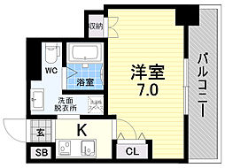 meet Me 梅田西 5階1Kの間取り