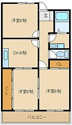 兵庫県尼崎市常吉2丁目の賃貸マンションの間取り