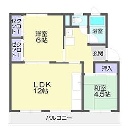 新宿団地7号棟[402号室]の間取り