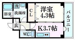 パークステージ夙川 3階1Kの間取り
