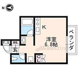 叡山電鉄叡山本線 元田中駅 徒歩4分の賃貸マンション 2階ワンルームの間取り