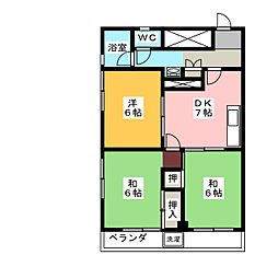 西中島第ニマンション[7階]の間取り