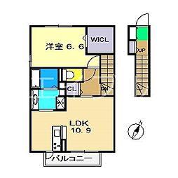 シャルムAZONO[2階]の間取り