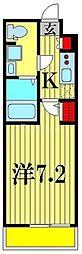 (仮称)レオーネ亀有WEST 4階1Kの間取り
