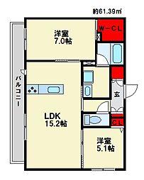 JR鹿児島本線 大野城駅 徒歩6分の賃貸マンション 1階2LDKの間取り