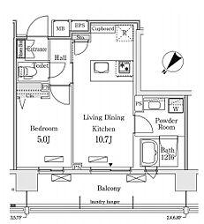 新交通ゆりかもめ 新豊洲駅 徒歩22分の賃貸マンション 9階1LDKの間取り