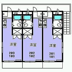パラシオン富士見[101号室]の間取り