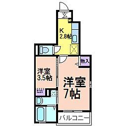 栃木県鹿沼市東町1の賃貸アパートの間取り