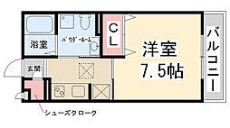 フロントハウス 1階1Kの間取り