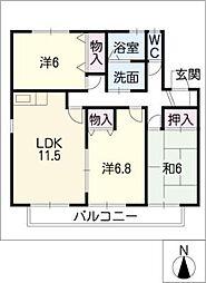 レジデンスC棟[2階]の間取り
