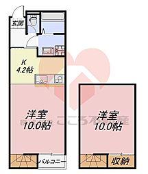メゾネットSakura 地下1階1LDKの間取り
