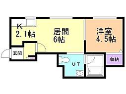 J'sコート東札幌 1階1LDKの間取り