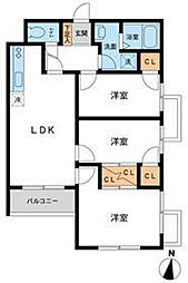 東京都目黒区大岡山1丁目の賃貸マンションの間取り