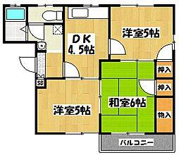 埼玉県越谷市七左町1の賃貸アパートの間取り