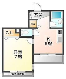 兵庫県西宮市田中町の賃貸マンションの間取り