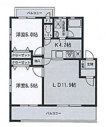 神奈川県相模原市中央区千代田6丁目の賃貸マンションの間取り