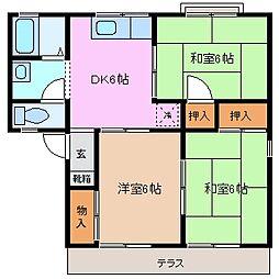 セジュール富田 B棟[1階]の間取り