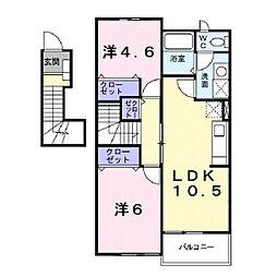 滋賀県草津市追分3丁目の賃貸アパートの間取り