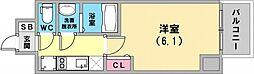 エステムコート神戸グランスタイル 9階1Kの間取り