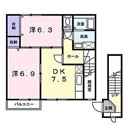 徳島県板野郡藍住町東中富字権現傍示の賃貸アパートの間取り
