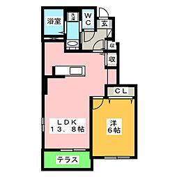 サニーヒルズ・TR II 1階1LDKの間取り