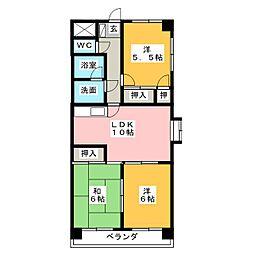 ドエル西富田[2階]の間取り