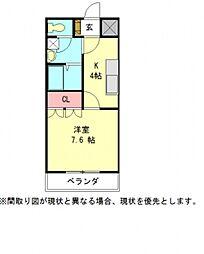 愛知県一宮市西五城字杁先南の賃貸アパートの間取り