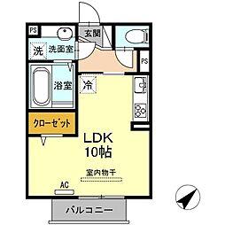 山口県下関市長府松小田本町の賃貸アパートの間取り