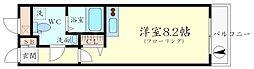 プラスコート西豊川 2階ワンルームの間取り
