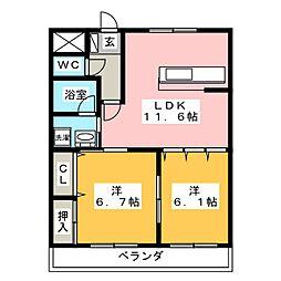 レシェンテII[1階]の間取り