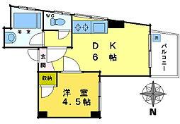 西早稲田マンション[703号室]の間取り