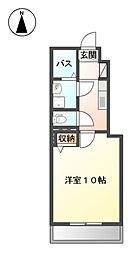 ソレイユ旭川 1階1Kの間取り