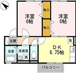 広島県福山市幕山台2の賃貸アパートの間取り