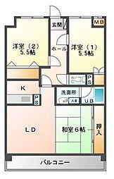 シャトレ文教台[2階]の間取り