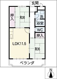 ソレイユ成田[3階]の間取り