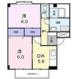埼玉県鴻巣市大芦の賃貸アパートの間取り