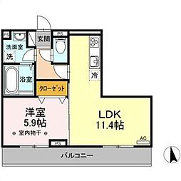 JR奥羽本線 北山形駅 桧町三丁目下車 徒歩4分の賃貸アパート 3階1LDKの間取り