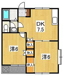 神奈川県小田原市扇町1丁目の賃貸アパートの間取り
