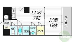 ノルデンタワー新大阪アネックス 24階1LDKの間取り