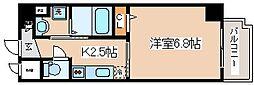 JR東海道・山陽本線 灘駅 徒歩6分の賃貸マンション 7階1Kの間取り