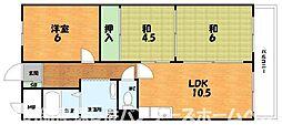 大阪府枚方市上島町の賃貸マンションの間取り