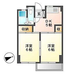愛知県名古屋市東区徳川2丁目の賃貸マンションの間取り