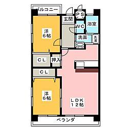 愛知県名古屋市緑区桶狭間巻山の賃貸マンションの間取り
